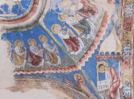 Frescoes in the Romanesque church of San Nicola di Trullas (Semestene - Sardinia) - Small medieval church annexed to a convent