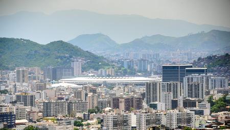 isabel: Aerial view from Santa Teresa hill to Sao Cristovao, Maracana and Tijuca neighborhoods, football Stadium and Tijuca Forest National Park of Northern Zone of Rio de Janeiro, Brazil