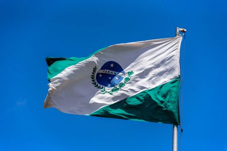 yerba mate: Flag of Parana waving in the wind at flagpole on the background of clear blue sky at sunny summer day, Brazil