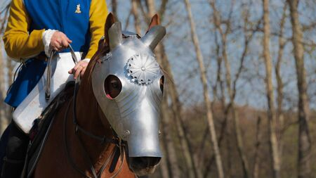 Head of Armored Warhorse in profile wearing chanfron on it's muzzle and medieval knight without head on horseback wearing yellow and blue costume Stock Photo