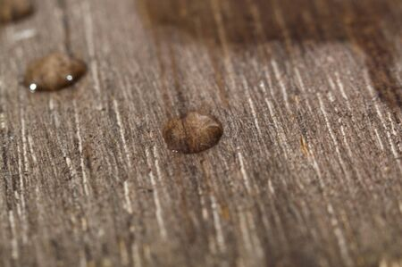 Water drop on wood from very close
