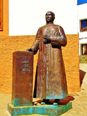 Sculpture of priest in Aguimes, Grand Canary Stock Photo