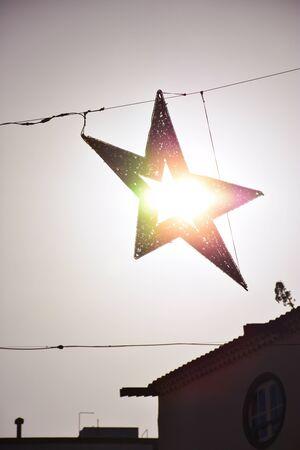 Sunlight crossing to Christmas ornament in La Laguna Foto de archivo