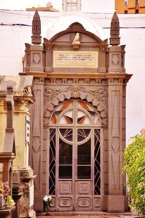 Mausoleum in the cemetery of Vegueta, Las Palmas de Gran Canaria. January, 2018