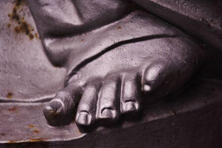 Sculpture foot in Cemetery of Vegueta, Las Palmas de Gran Canaria. January, 2018 Editorial