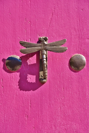 Dragonfly shaped knocker on a pink door Foto de archivo
