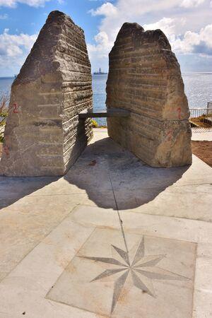 Grand Canary, Spain, 06/24/2018. Monument in La Laja Beach. Balcony over sea