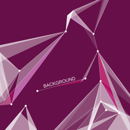 intro: Abstract composition. Minimalistic fashion backdrop design. Purple space star figure icon. Triangle font texture. Modern ad banner. Angle, dot connection fiber. Linking line ornament. Stock vector art