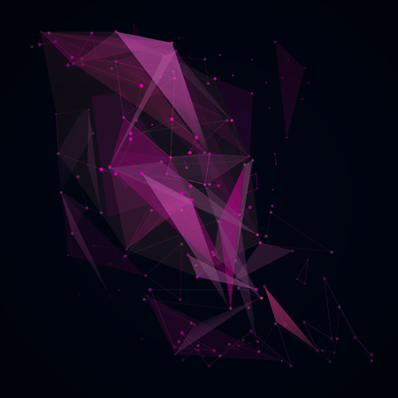 intro: Abstract composition. Minimalistic fashion backdrop design. Black, purple space star icon. Triangle font texture. Modern ad banner. Angle, dot connection fiber. Linking line ornament. Stock vector art Illustration