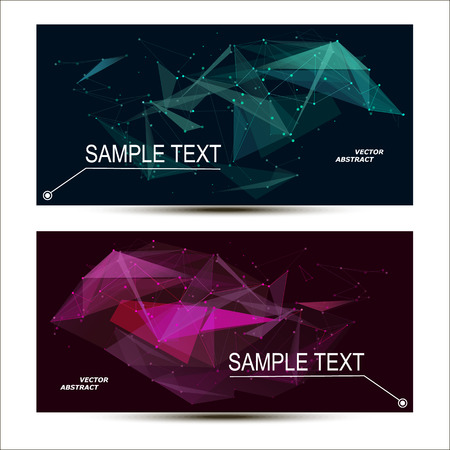 intro: Abstract composition. Minimalistic fashion backdrop design. Green, purple space star icon. Triangle font texture. Modern ad banner. Angle, dot connection fiber. Linking line ornament. Stock vector art Illustration
