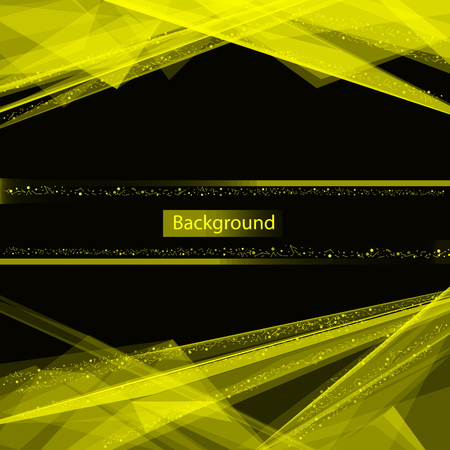 Abstract composition. Minimalistic fashion backdrop design. Yellow space star icon. Triangle font texture. Modern ad banner. Glass facet connection fiber. Linking laser lines ornament. Stock vector art