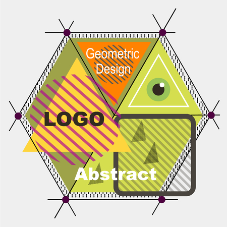 Abstract composition. Minimalistic fashion backdrop design. Triangle brand logo icon. Green, yellow, orange font texture. Modern ad banner. Lines, dots connection fiber. Hexagon sign. Stock vector art
