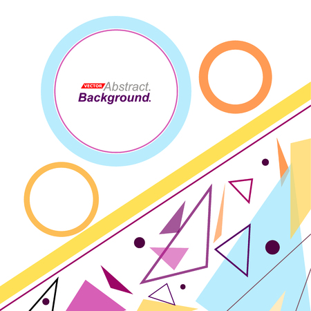 intro: Abstract concept. Minimalistic fashion backdrop design. Patch flying triangles icon. Yellow line font texture. Modern ad banner. Round parts fiber. Blue, orange circle rings ornament. Stock vector art
