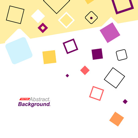 intro: Abstract concept. Minimalistic backdrop design. Patch purple, blue, yellow, red flying square icon. Lozenge font texture. Modern ad banner. Rhombus parts fiber. Box blocks ornament. Stock vector art