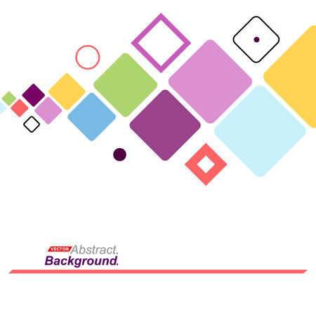 intro: Abstract concept. Minimalistic backdrop design. Patch purple, blue, yellow, green flying square icon. Lozenge font texture. Modern ad banner. Rhombus parts fiber. Box blocks ornament. Stock vector art