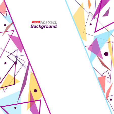intro: Abstract concept. Minimalistic fashion backdrop design. Purple, yellow flying triangles icon. Blue line font texture. Modern ad banner. Patch parts fiber. Bright ornament text frame. Stock vector art Illustration
