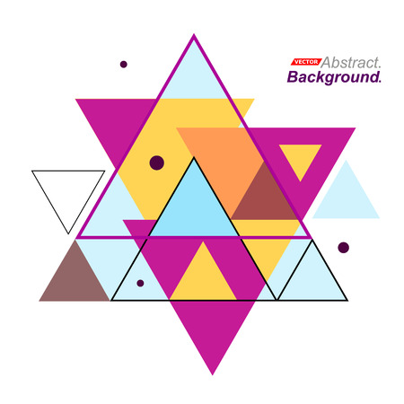 inlay: Abstract composition. Minimalistic fashion backdrop design. Hexagram brand logo icon. Pink, yellow, blue font texture. Modern ad banner. Patch triangle connection. Mosaic inlay fiber. Stock vector art Illustration