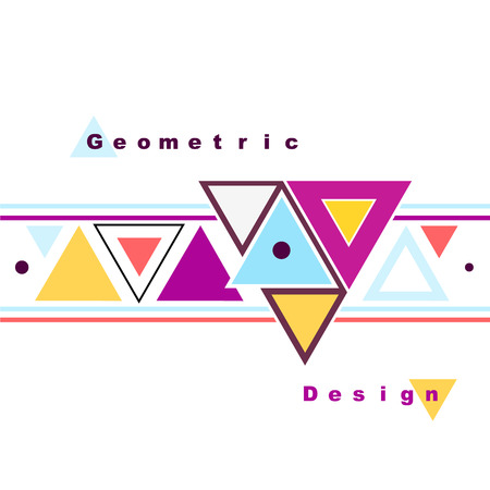 Abstract composition. Minimalistic fashion backdrop design. Triangle brand logo icon. Pink, yellow, blue font texture. Modern ad banner. Patch mosaic connection. Puzzle inlay fiber. Stock vector art Illustration