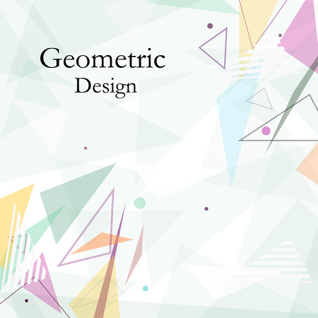 patch of light: Abstract composition. Minimalistic fashion backdrop design. Patch flying triangles icon. Green font texture. Modern ad banner. Parts connection fiber. Bright ornament. Light surface. Stock vector art