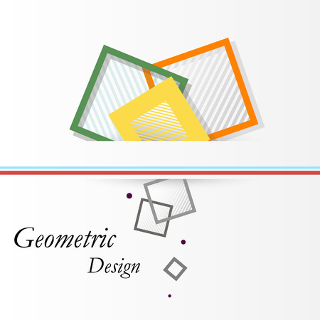Abstract concept. Minimalistic backdrop design. Square brand logo icon. Green, orange, yellow box blocks font texture. Modern ad banner form. Patch figure connection. Lozenge emblem. Stock vector art