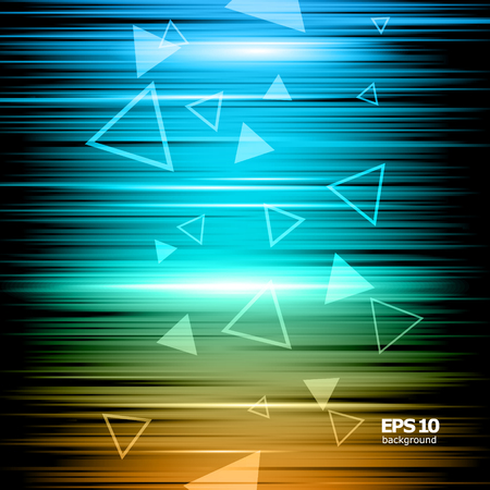 Abstract composition, shiny geometric shape flare, visual colored lines light, flying triangle radiance icon, effulgence logo construction, glory screen saver, luster sheen Illustration