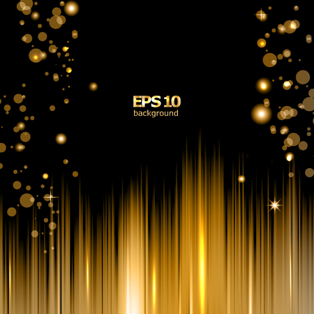scintillation: Abstract composition, shiny geometric shapes flare, visual line light, golden circle radiance icon, effulgence logo construction, glory screen saver, luster bubble sheen Illustration