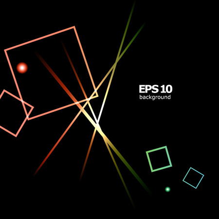 Abstract composition, shiny geometric shapes flare, visual colored square blocks light, lines interlacement, flying lozenge radiance icon, logo construction, screen saver Illustration