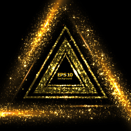 Abstract composition, shiny geometric shapes flare, visual golden light, flying triangle radiance icon, effulgence logo construction, glory screen saver, luster sheen
