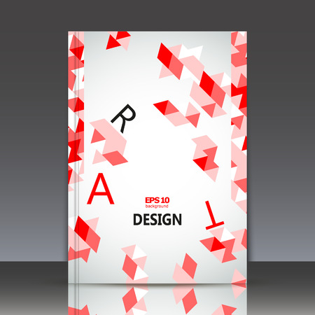inlay: Abstract composition, geometric ornament, a4 brochure title sheet, red triangle puzzle, ceramic mosaic inlay figure, surface backdrop, logo construction, firm sign base