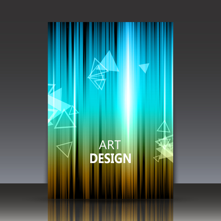Abstract composition, shiny geometric shapes flare, visual colored line light, flying triangle radiance icon, logo construction, a4 brochure title sheet, firm sign backdrop