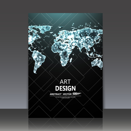 Abstrakte Komposition, glänzende Raum Erde Symbol, Lumineszenz Nacht Map-Struktur, glimmen A4 prospektTitelBlatt, zwinkert Hemisphären Diagramm, Fluoreszenz Globus planisphere Vektorgrafik