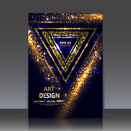 luster: Abstract composition, shiny geometric shapes flare, visual light flash, golden triangle radiance icon, effulgence figure logo construction, glory a4 brochure title sheet, luster sheen, vector