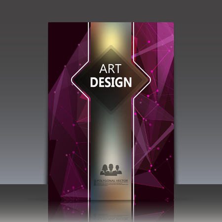 light ray: Abstract composition, polygonal texture, a4 brochure title sheet, diamond facet theme paperback, purple space ray light backdrop, logo construction, elegant surface, business card icon, vector