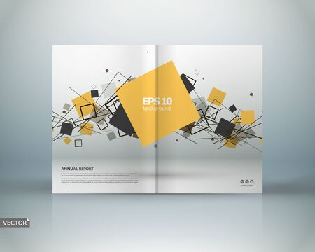 Abstract binder art. White a4 brochure cover design. Info banner frame. Elegant ad text font. Title sheet model set. Fancy front page. Square printed blurb. Yellow box block figure