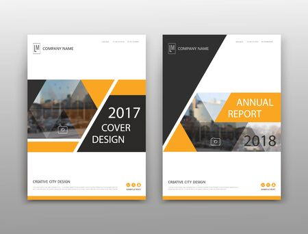 Abstract binder layout. White a4 brochure cover design. Fancy info text frame. Creative ad flyer font. Title sheet model set. Modern vector front page. Elegant city banner. Yellow triangle figure