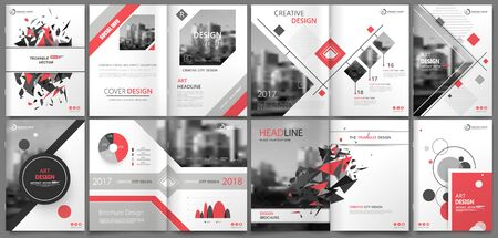 Abstract binder art. White a4 brochure cover design. Info banner frame. Elegant ad flyer text. Title sheet model set. Fancy vector front page. City font blurb. Red line, square, triangle figure