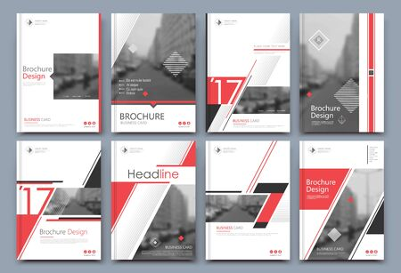 Abstract binder layout. White a4 brochure cover design. Fancy info text frame. Creative ad flyer font. Title sheet model set. Modern vector front page. Elegant city banner. Red lines figure icon