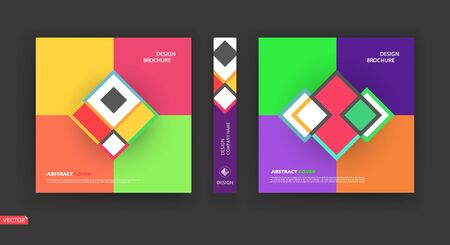 Abstract bright a4 brochure cover design. Info banner frame. Patch title sheet model set. Modern vector front page art. Elegant brand logo texture. Colored figure icon. Ad flyer text font. Fancy Vectores