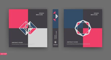 Bright a4 brochure cover design. Pink, blue, white, black Info banner frame. Patch title sheet model set. Modern vector front page. Elegant brand logo texture. Colored figure icon. Ad flyer text