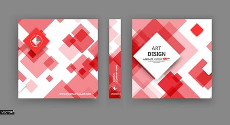 Abstract a4 brochure cover design. Info banner frame. Red, white title sheet model set. Modern vector front page art. Elegant box blocks texture. Colored figure icon. Ad flyer text font. Fancy Foto de archivo - 150465268