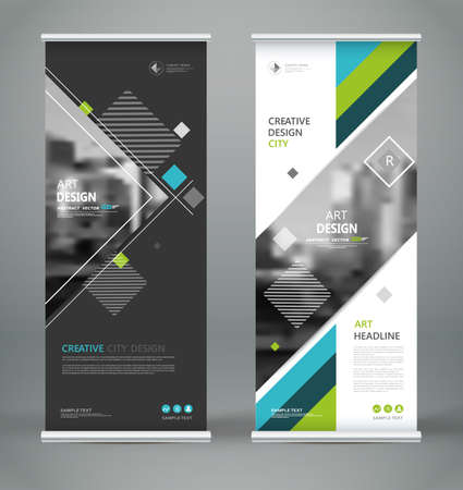 Abstract blurb font. Patch brochure cover design. Roll up info banner frame, ad flyer text, title sheet model set. Hi tech vector front page. Brand flag with city art. Blue, green triangle figure icon