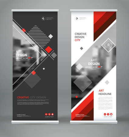 Abstract blurb font. Patch brochure cover design, roll up info banner frame, ad flyer text or title sheet model set. Hi tech vector front page. Brand flag with city art board. Red triangle figure icon