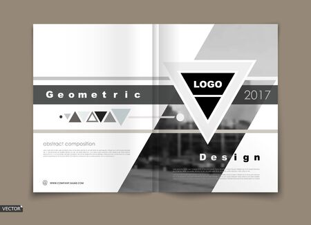 Design for business brochure cover, info banner frame, title sheet model set, flyer mockup or ad text font. Modern vector white front page art with urban city texture. Black triangle figure logo