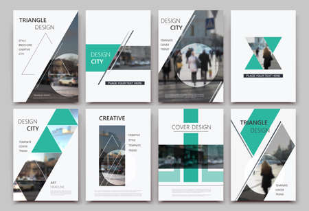 A4 brochure cover design. Templates for flyer, ad text font, info banner frame or title sheet model set. Modern vector front page art with urban city street texture. Patch triangle, round figure icon