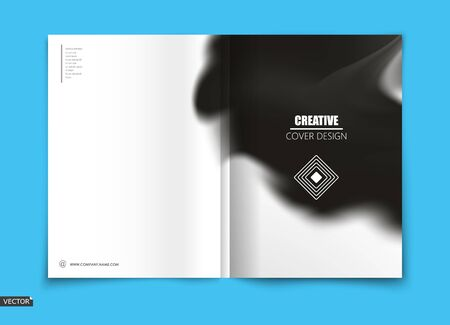 White, black design for brochure cover, info banner frame, title sheet model, flyer or ad text font. Modern vector front page art with geometric logo and stain blot texture. Creative blur figure