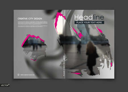 White, black design for brochure cover, info banner frame, title sheet model or ad flyer text font. Modern vector front page art with city street and pink stain blot texture. Creative blur figure icon