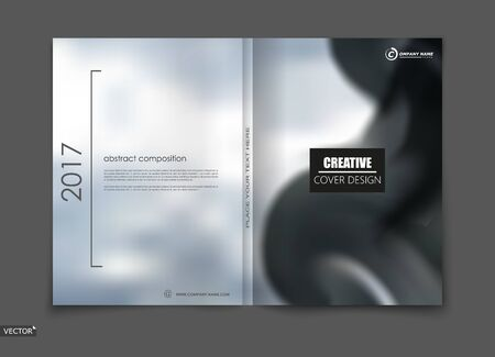 White, black elegant design for brochure cover, info banner, fancy title sheet composition, flyer or ad text font. Modern vector front page art with sky clouds theme. Creative silver air figure