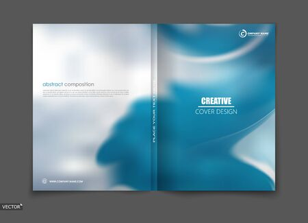White, blue elegant design for brochure cover, info banner frame, title sheet. Modern vector front page art with sky clouds theme. Creative air figure icon. Fancy composition for flyer or ad text