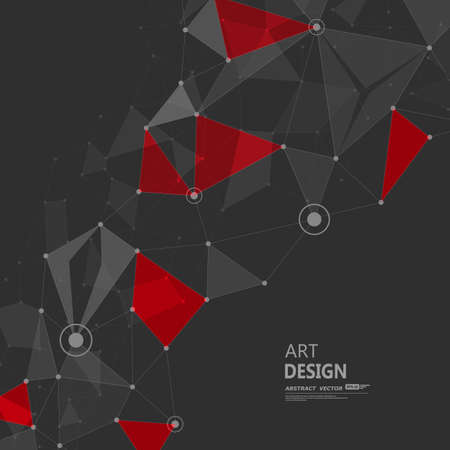 Abstract composition. Minimalistic fashion backdrop design. Red, black polygonal figure icon. Triangle font texture. Creative banner. Angle connection fiber. Linking lines ornament. Stock vector