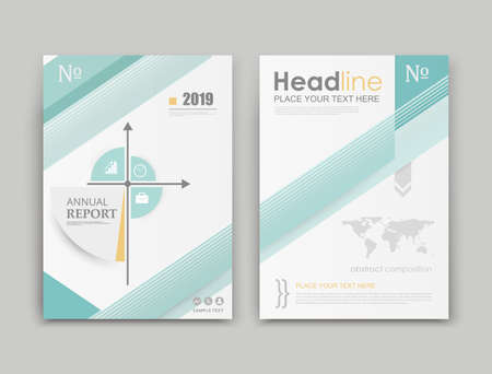A4 brochure cover design. Ad frame font. Title sheet model. Creative vector front page. Abstract flyer set. Banner texture. Green colored reference lines icon. Coordinate axis. Financial project fiber Illustration
